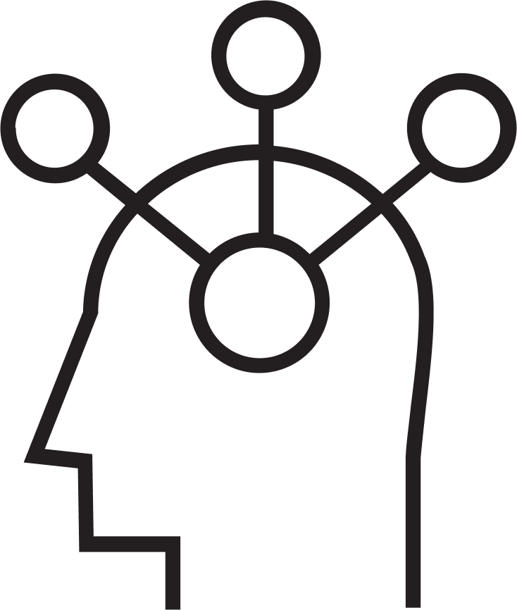 Illustration of a person's head showing their expanding thoughts