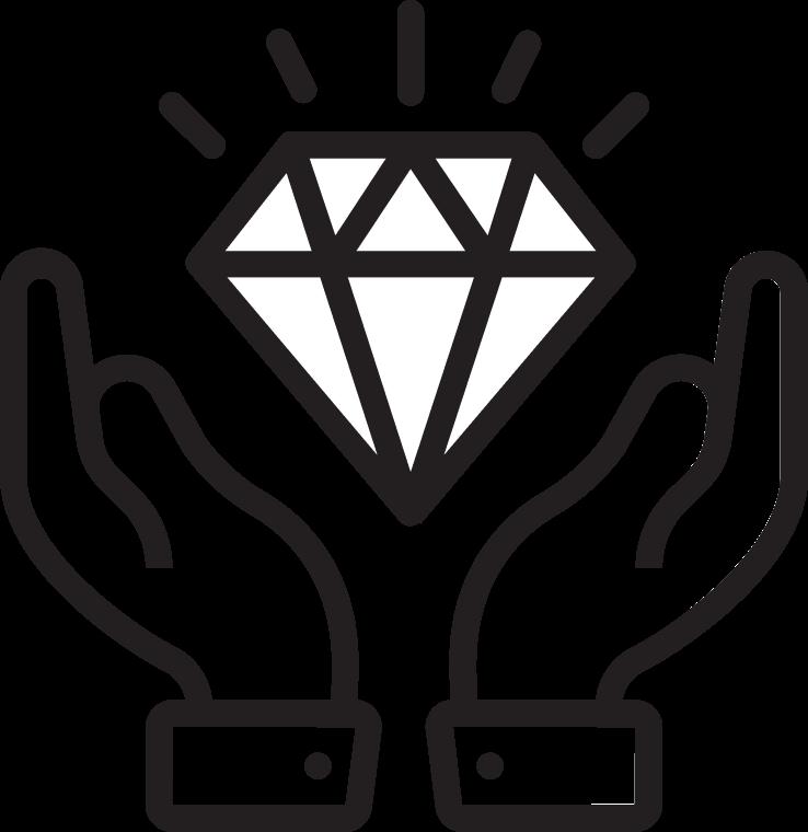 Illustration of two hands holding a gem