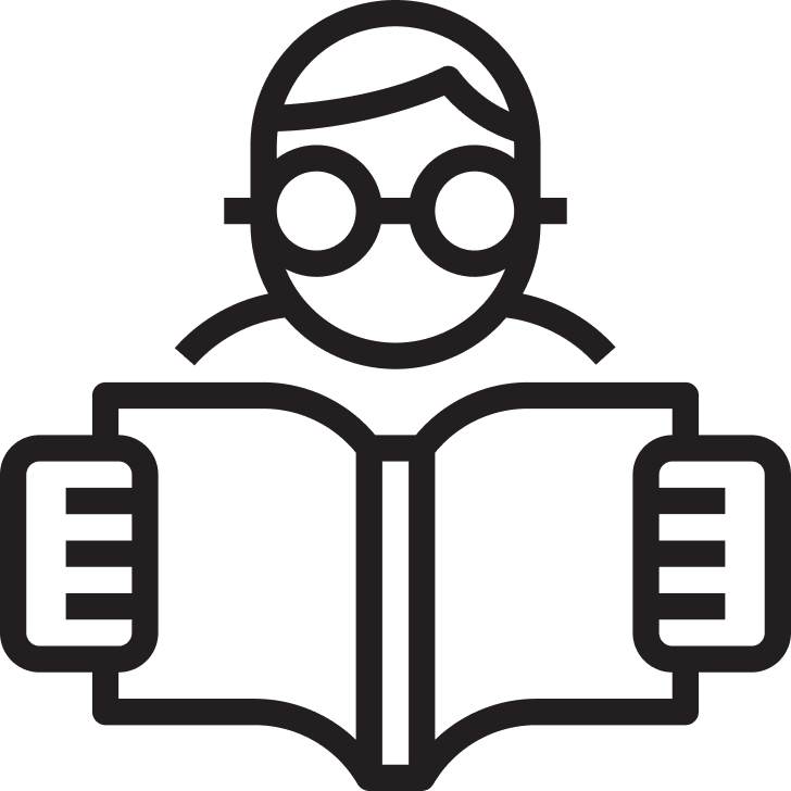 Illustration of person reading a book