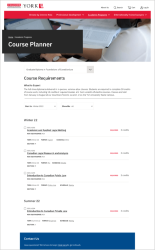 LLM Course Planner page