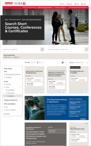 Professional Development Course Search page