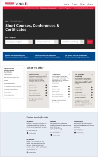Professional Development Courses Landing Page