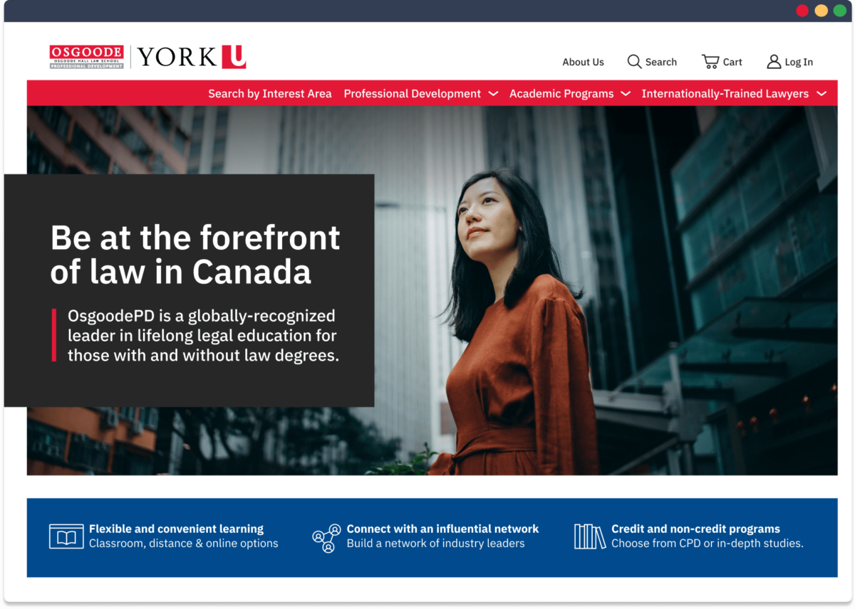 Screen capture of the new Osgoode PD website
