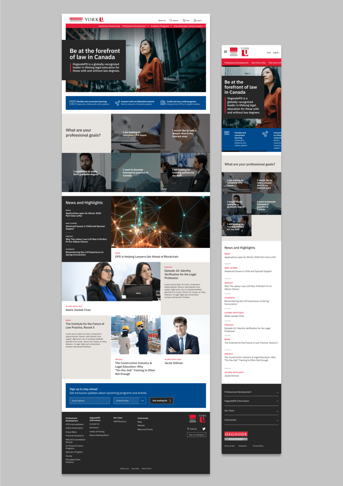 Full page of the Osgoode PD new home page on desktop and mobile screens