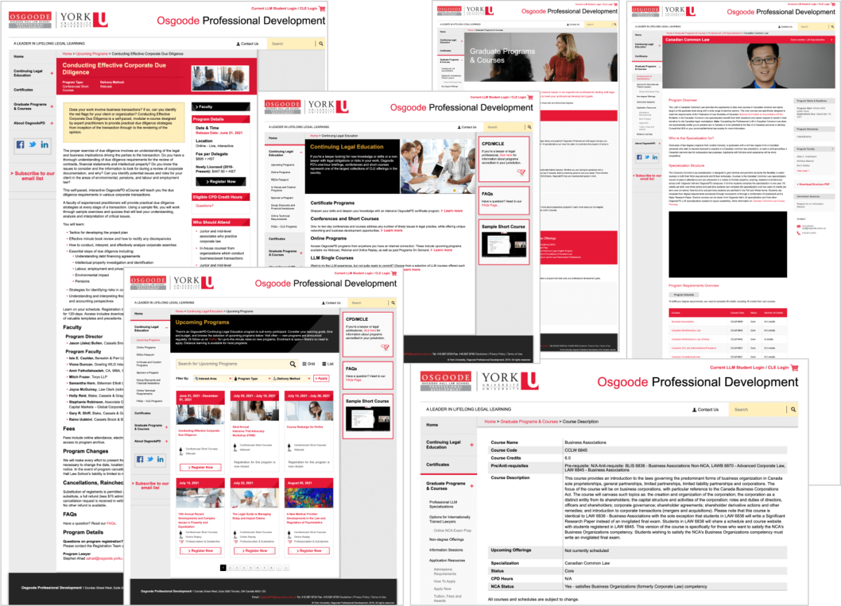 Screen captures of numerous pages of the old Osgoode PD website