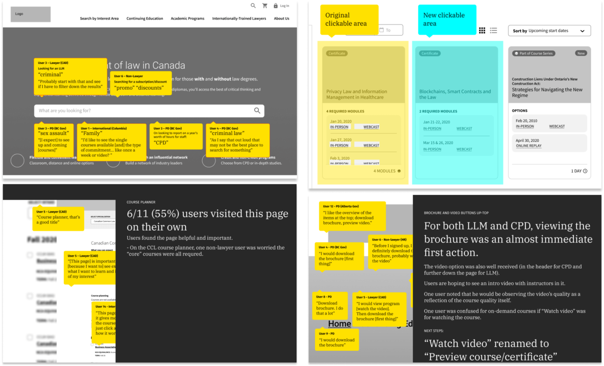 Pages of a report with user comments overlaid on wireframes