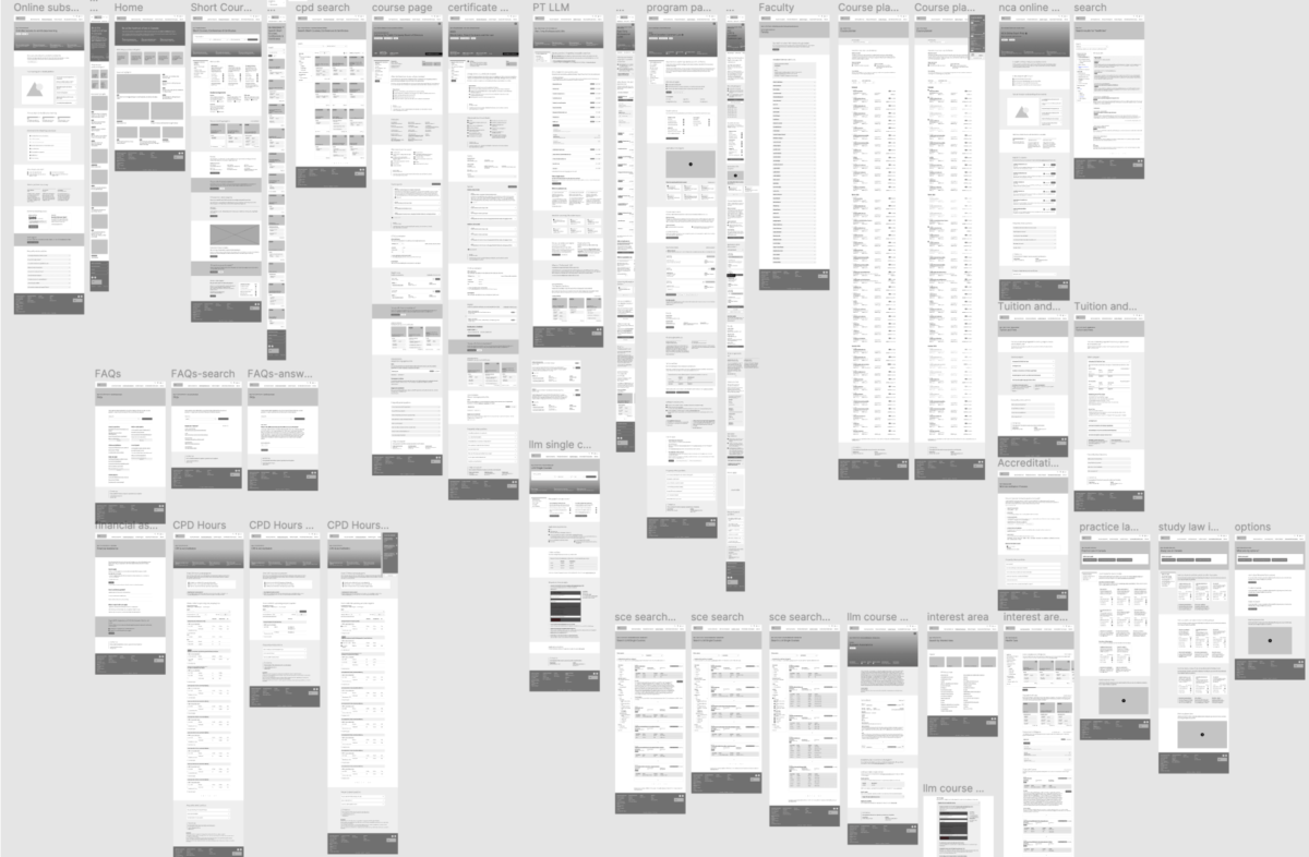 A view of a significant amount (approximately 37) of wireframed pages