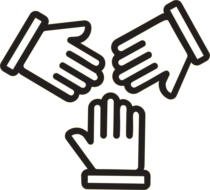 Illustration of three hands working together