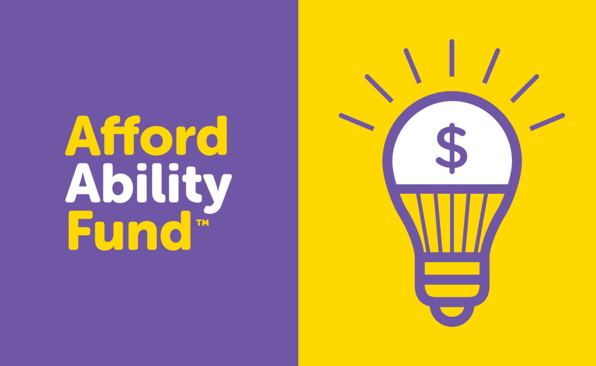 AffordAbility Fund and a lightbulb with a dollar sign inside