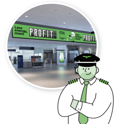 Drawing of security guard with an inset of the airport behind
