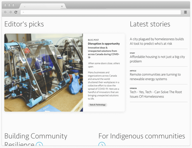 Desktop view of the stories archive