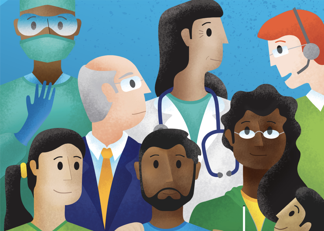 Illustration of patients, caregivers, and doctors of different types