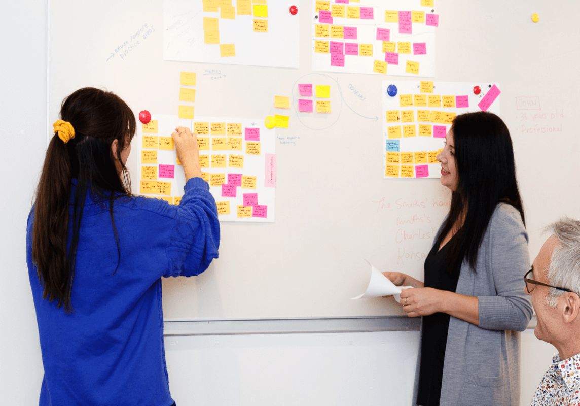 Two people discuss sticky notes on a white board